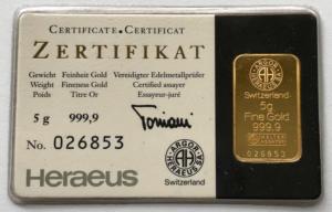 HERAEUS SWIZERLAND FINE GOLD 5 G 300x192 - HERAEUS SWIZERLAND FINE GOLD 5 G