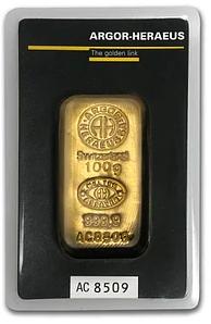 argor heraeus swizerland 100 g gold - argor-heraeus swizerland 100 g gold